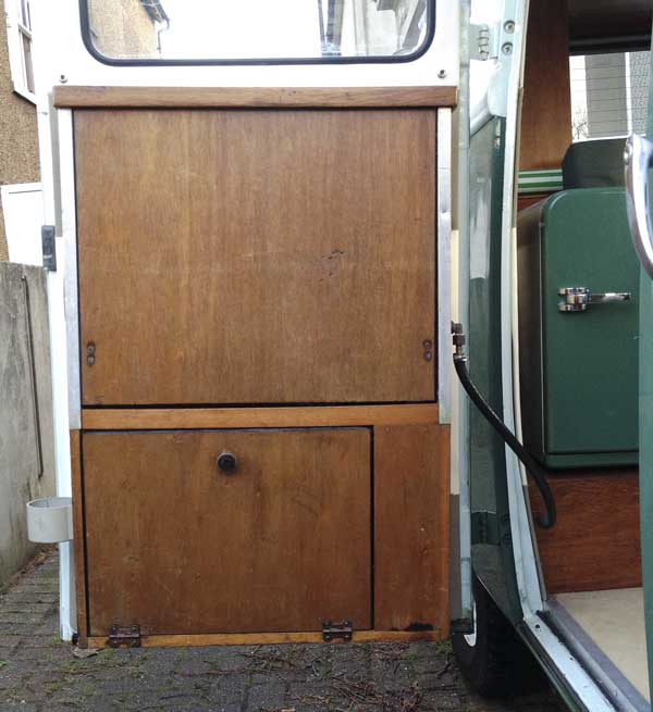 The Canterbury Pitt door mounted cooker is a nice original feature of the camper