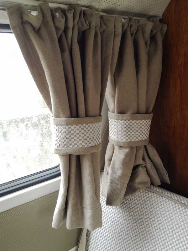 matching thermal/blackout lined curtains fitted to complete the interior