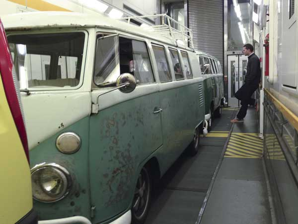 both VW campers safely aboard the Le Shuttle in the EuroTunnel on the way to Calais, France