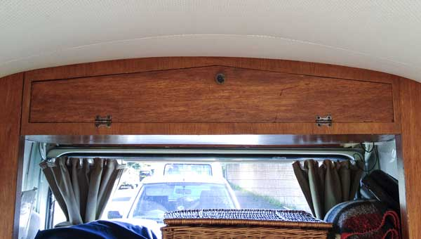 hinges and catch fixed, the Canterbury Pitt overhead locker door back in place!