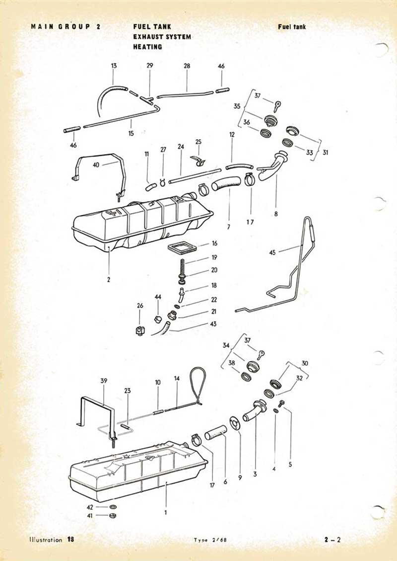parts list diagram for an august 1971 vw early bay fuel tank top pic vdubxs