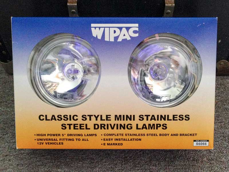 a pair of Wipac stainless steel new mini spot lights