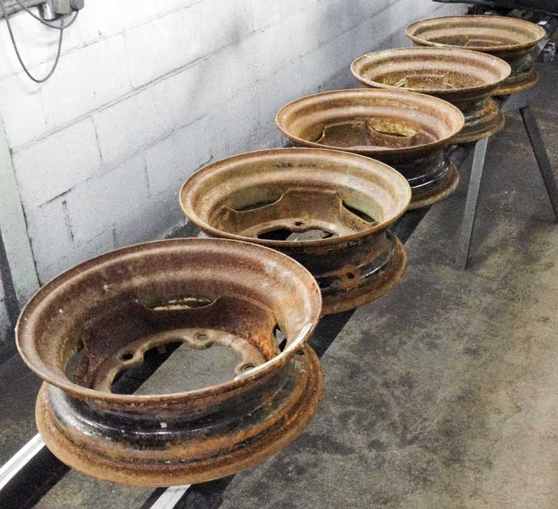 "a set of five original VW 15"" steel bus wheels ready for a bit of a clean up"
