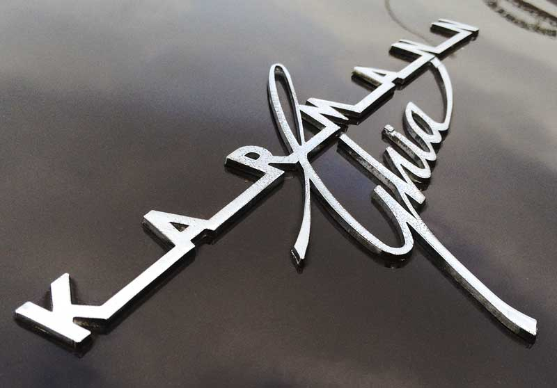 beautiful typography of the classic distressed Karmann Ghia script