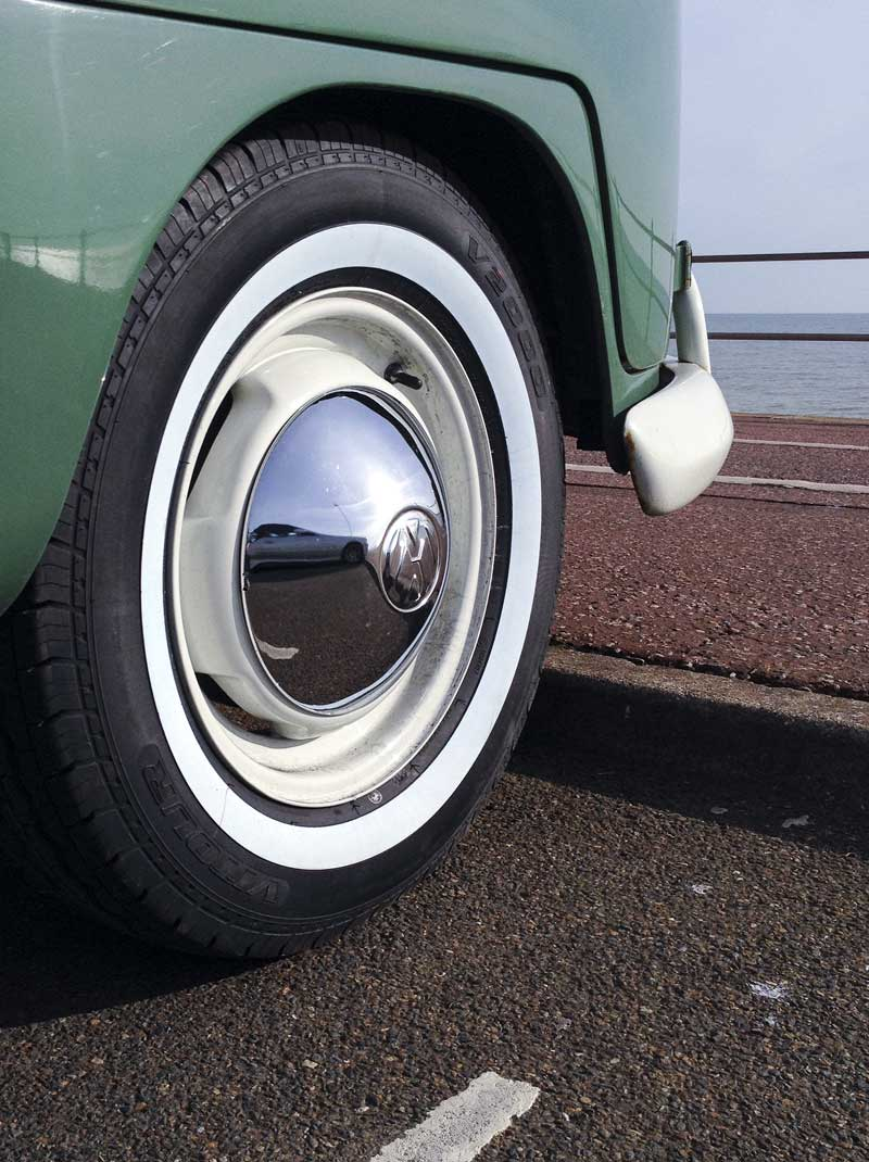 """the 195/80/R15 white bands on the original VW 15"""" steels looking sweet"""